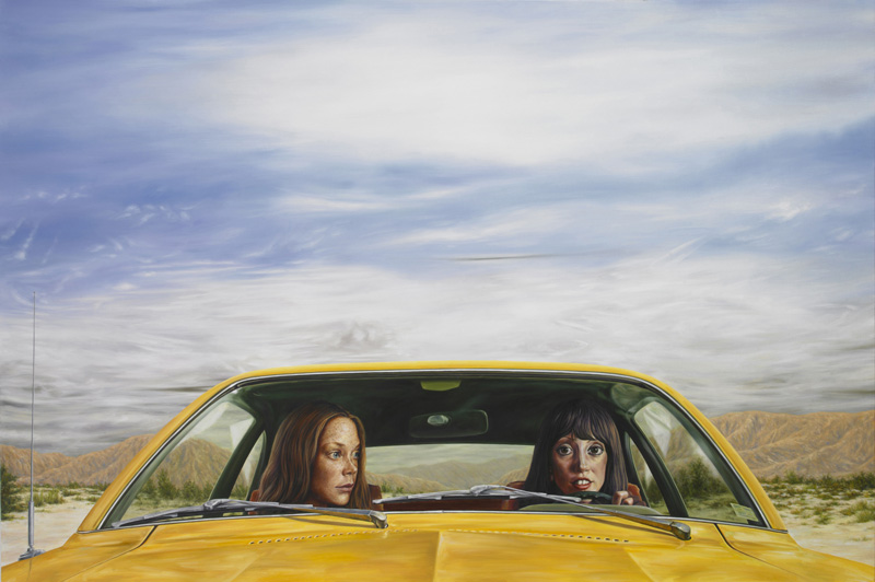 Eric White,1973, Ford Pinto With Tanguy Sky (3 Women), 2011, Olio Su Tela, 101,5 X 152,4 Cm