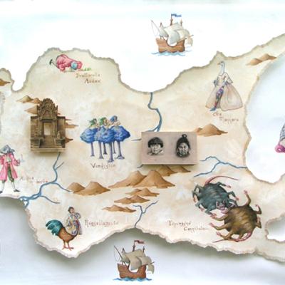 Mappa Di Sexemberg, Acquerello E Collage Su Carta, Cm 70 X 100