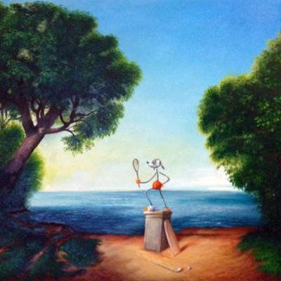 Olinsky, Antico Eroe Dello Sport, Oil On Canvas, 60x80 Cm