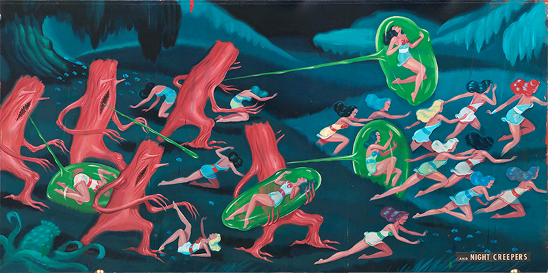 Ryan Heshka, Night Creepers, 2010, Mixed Media On Board, 34x70 Cm