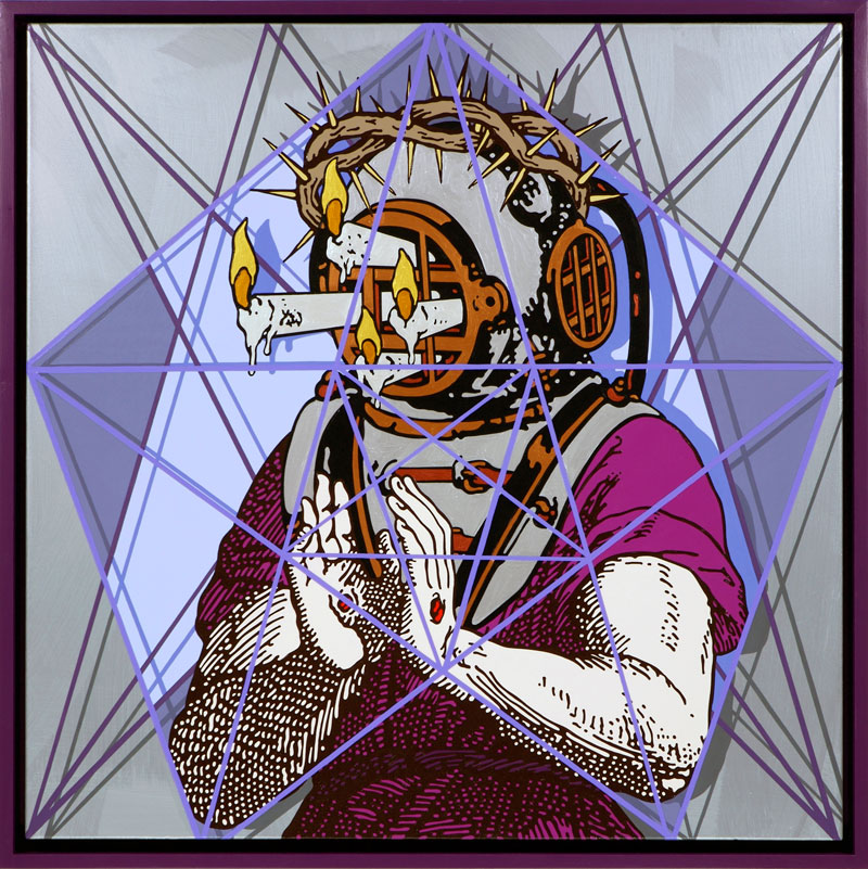 Gabriele Arruzzo, God's Portrait, 2012, Smalto E Acrilico Su Tela E Cornice In Legno,107x107 Cm