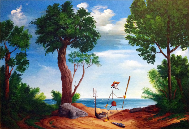 Olinsky, Gondoliere Naufrago, Acrylic On Canvas, 100x70 Cm