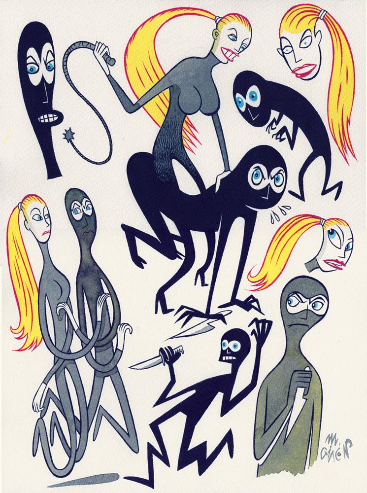 Massimo Giacon, Diabolik&Eva, 2012, Ink And Ecoline On Paper, 40x30 Cm