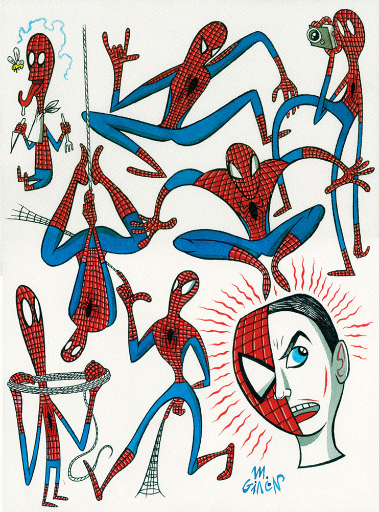 Massimo Giacon, Spiderman, 2012, Ink And Ecoline On Paper, 40x30 Cm