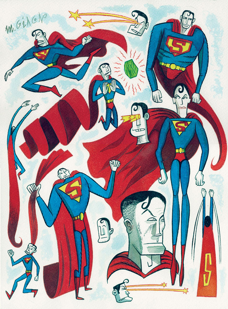 Massimo Giacon, Superman, 2012, Ink And Ecoline On Paper, 40x30 Cm