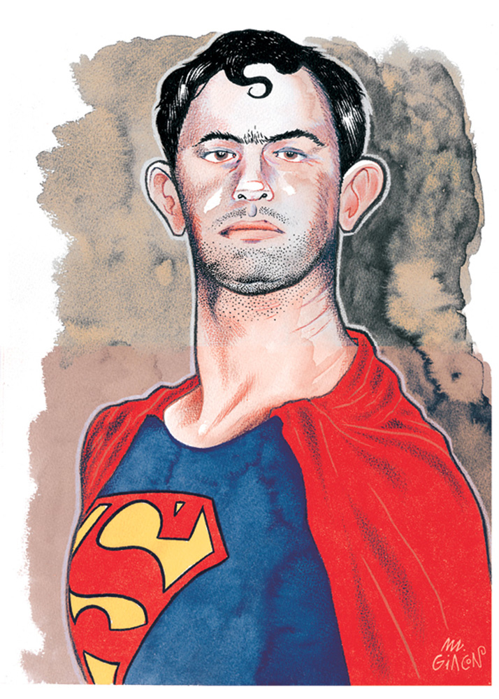 Massimo Giacon, Superman Cosplayer, 2012, Ink And Ecoline On Paper, 40x30 Cm
