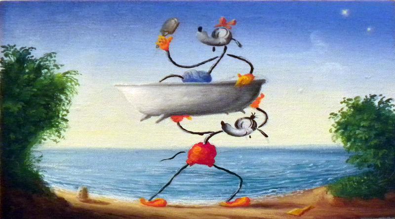 Olinsky, Trionfo D'Europa, Opera Giovanile, Oil On Canvas, 20x30 Cm