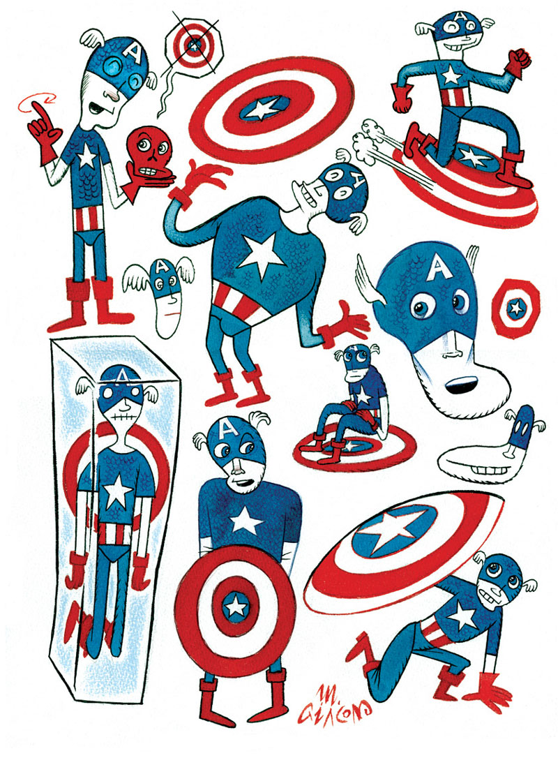 Massimo Giacon, Cpt America, 2012, Ink And Ecoline On Paper, 40x30 Cm