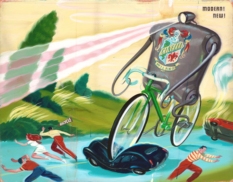 Ryan Heshka, Modern New Bicycle, 2012, giclée print, 28x36,5 cm