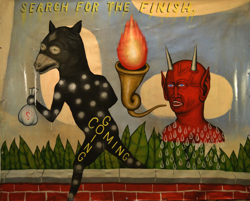 Fred Stonehouse, Search for the finish, 2014, acrylic on canvas banner, 142x172 cm