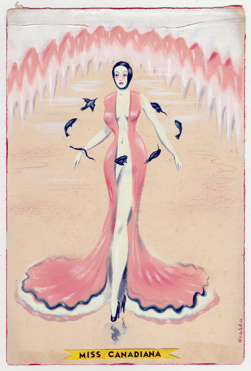 Ryan Heshka, Miss Canadiana, 2015, gouache and mixed on vintage paper, 18,5x12 cm