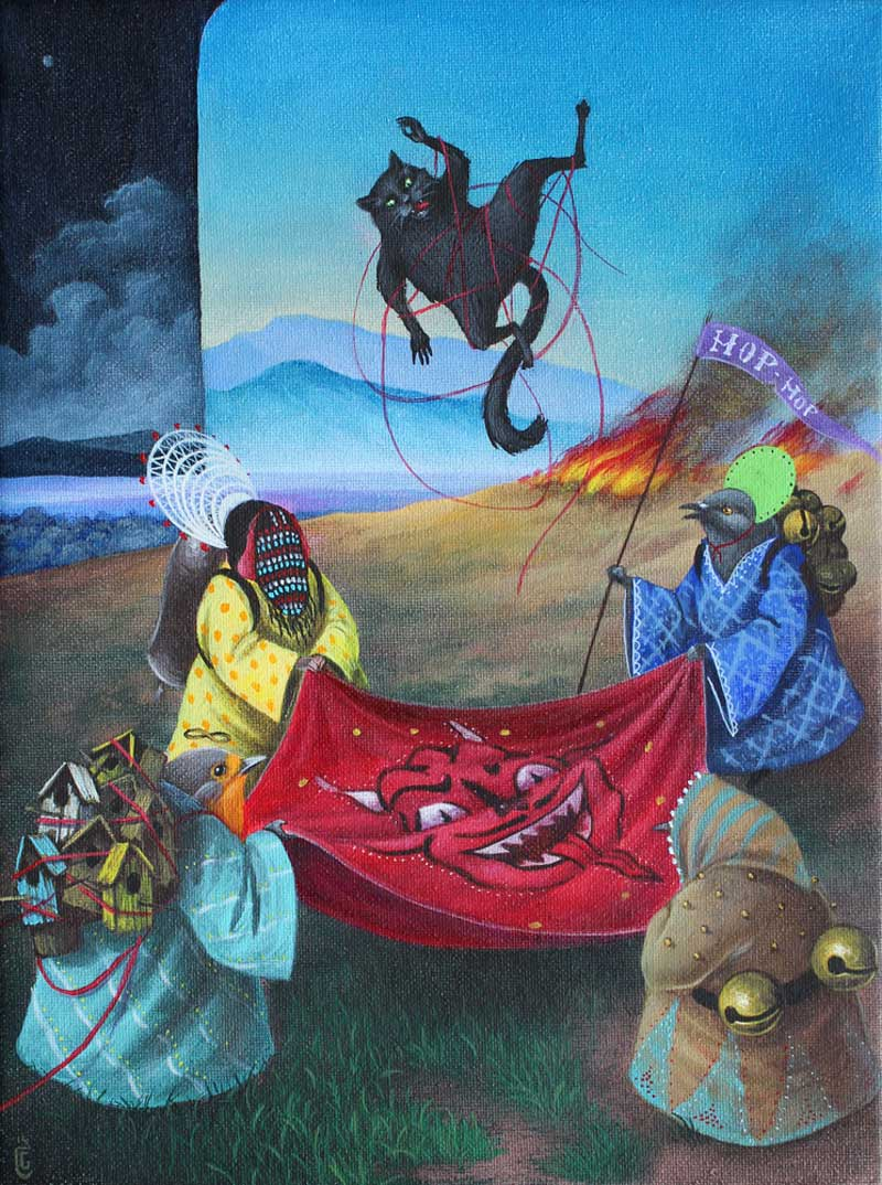 El Gato Chimney, Fiesta!, 2014, Acrylic On Canvas, 24x18 Cm