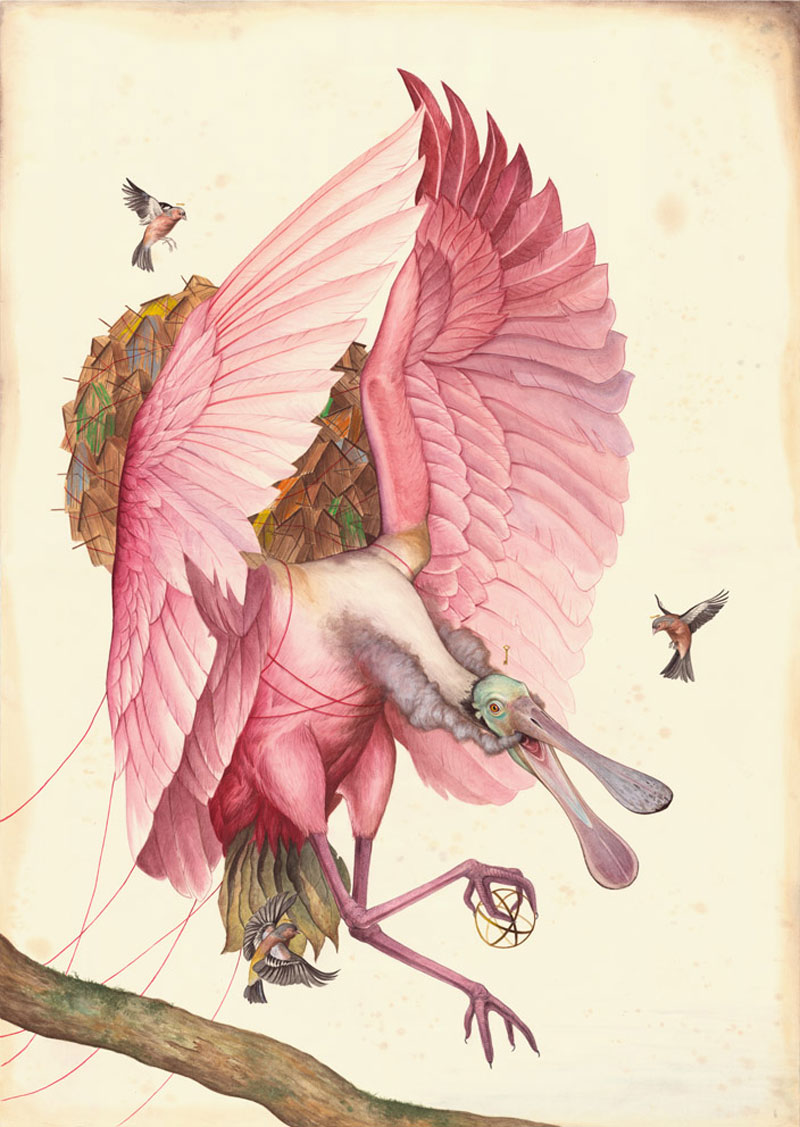 El Gato Chimney, Il Desiderio, 2015, Mixed Media On Cotton Paper, 100x70 Cm