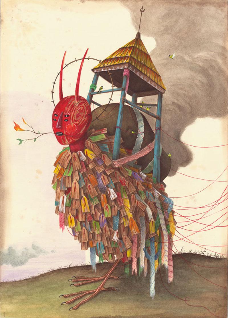 El Gato Chimney, L'ordine Di Tutte Le Cose, 2015, Mixed Media On Cotton Paper, 70x50 Cm