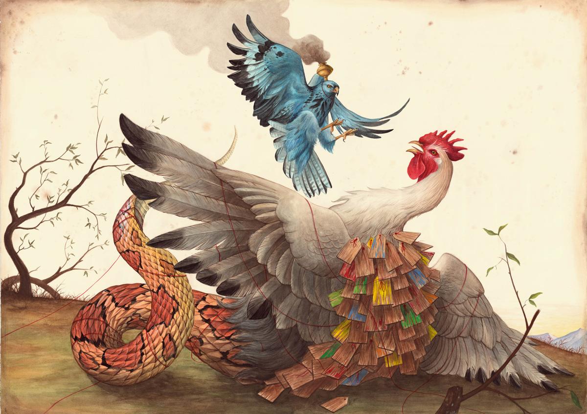 El Gato Chimney, Memorie Sovrapposte, 2015, Mix Media On Cotton Paper,100×140 Cm