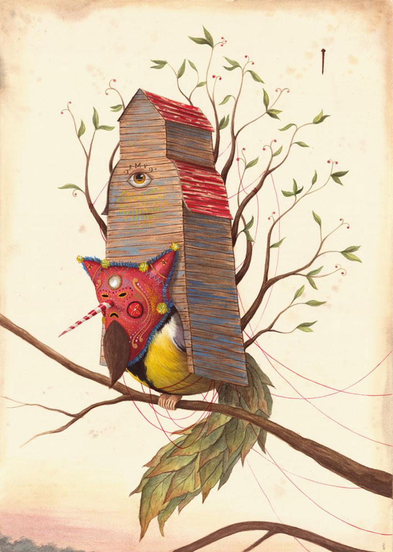El Gato Chimney, Niente è Perduto, 2015, Mixed Media On Cotton Paper, 70x50 Cm