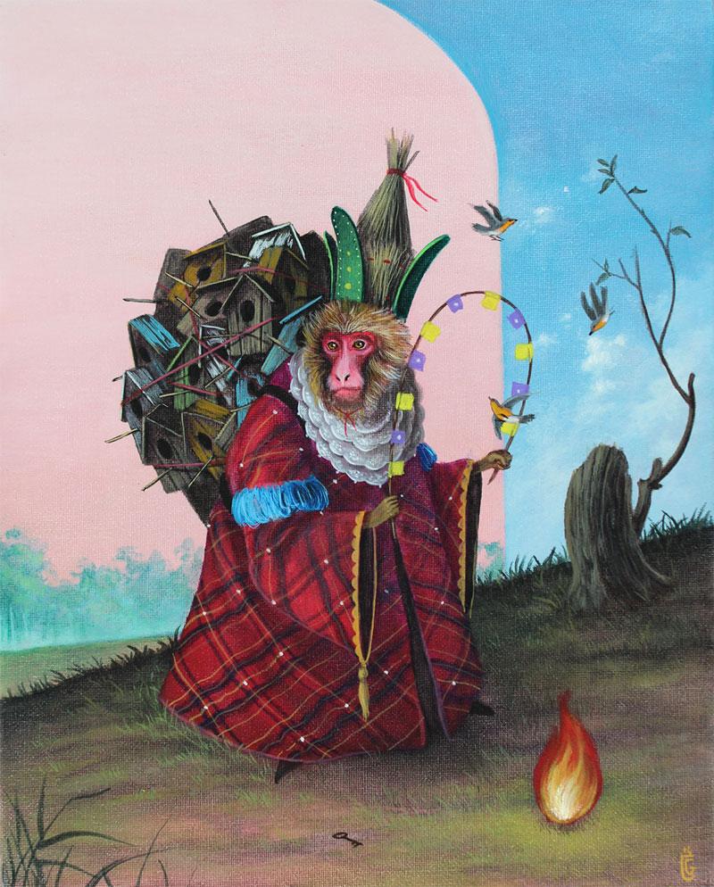 El Gato Chimney, The Shaman, 2014, Acrylic On Canvas, 20x25 Cm