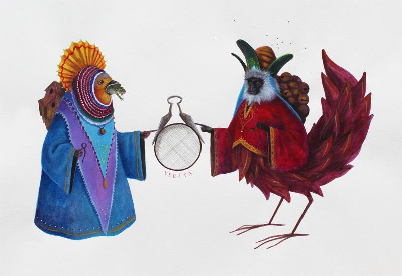El Gato Chimney, Verità, 2013, Acrylic On Cotton Paper, 50x35 Cm