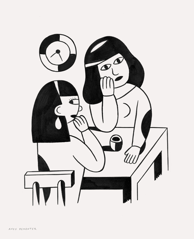 Andy Rementer, Happy Hour, 2015, ink on paper, 32x26 cm