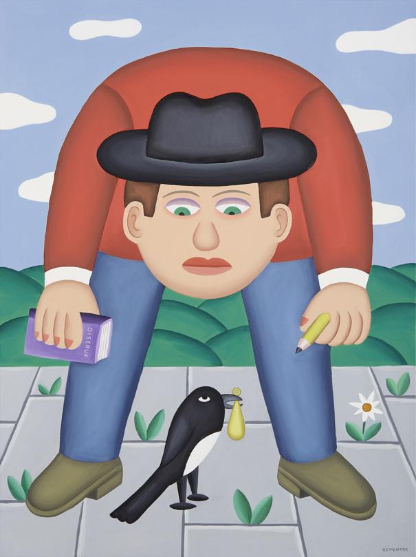 Andy Rementer, La Gazza Ladra, 2015, oil on canvas, 122x76 cm