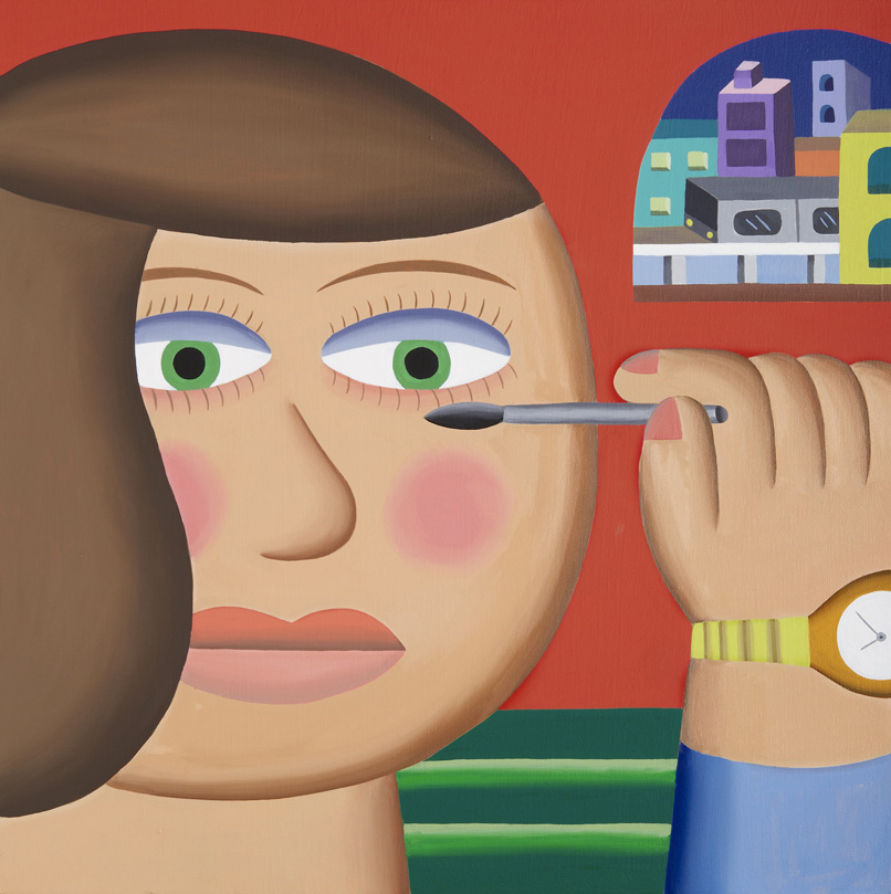 Andy Rementer, Mascara, 2015, oil on canvas, 122x122 cm