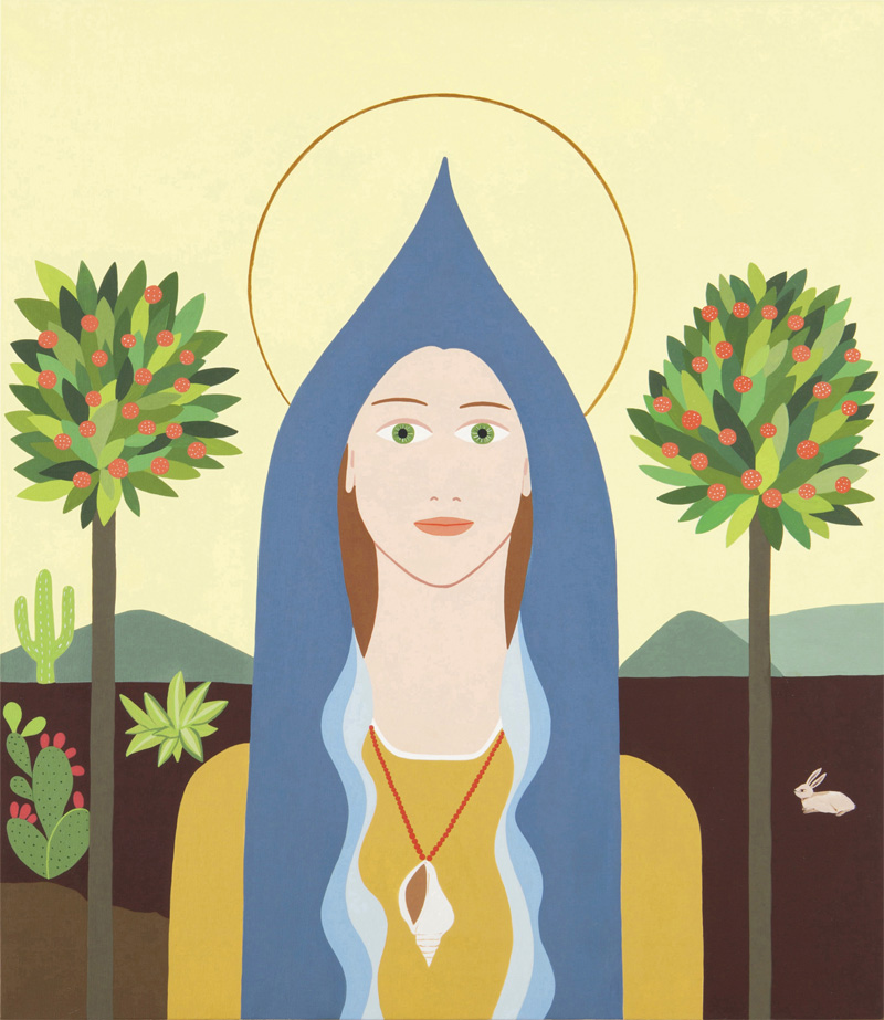 Fulvia Mendini, Madonna della conchiglia, 2014, acrilico su tela, 69x60 cm