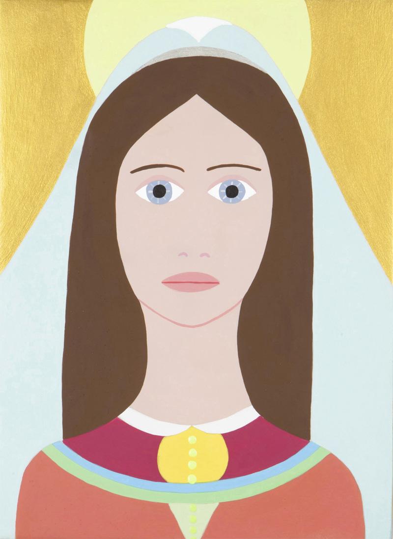 Fulvia Mendini, Madonnina dell'umiltà, 2015, acrilico su legno, 23x17 cm
