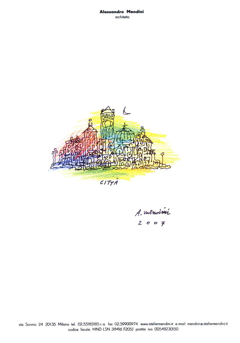 A. Mendini, Città, 2007, disegno su carta, cm 21×29,7