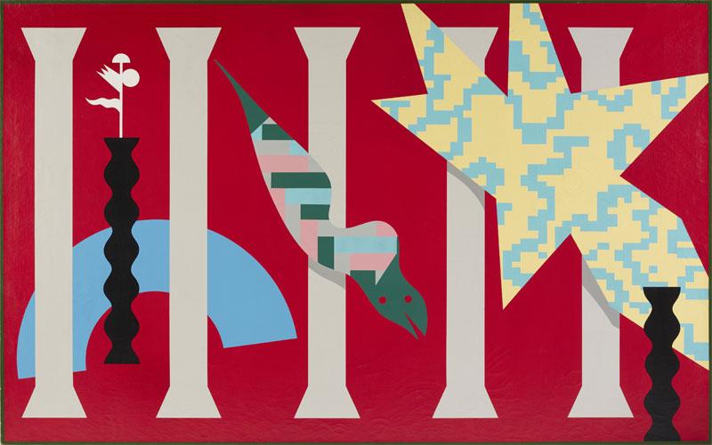 A. Mendini, ST, 1986, nitro su tela, tela, 195×150 cm