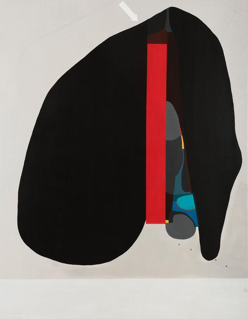 108, Senza titolo, 2016, tecnica mista su tela, 140×160 cm