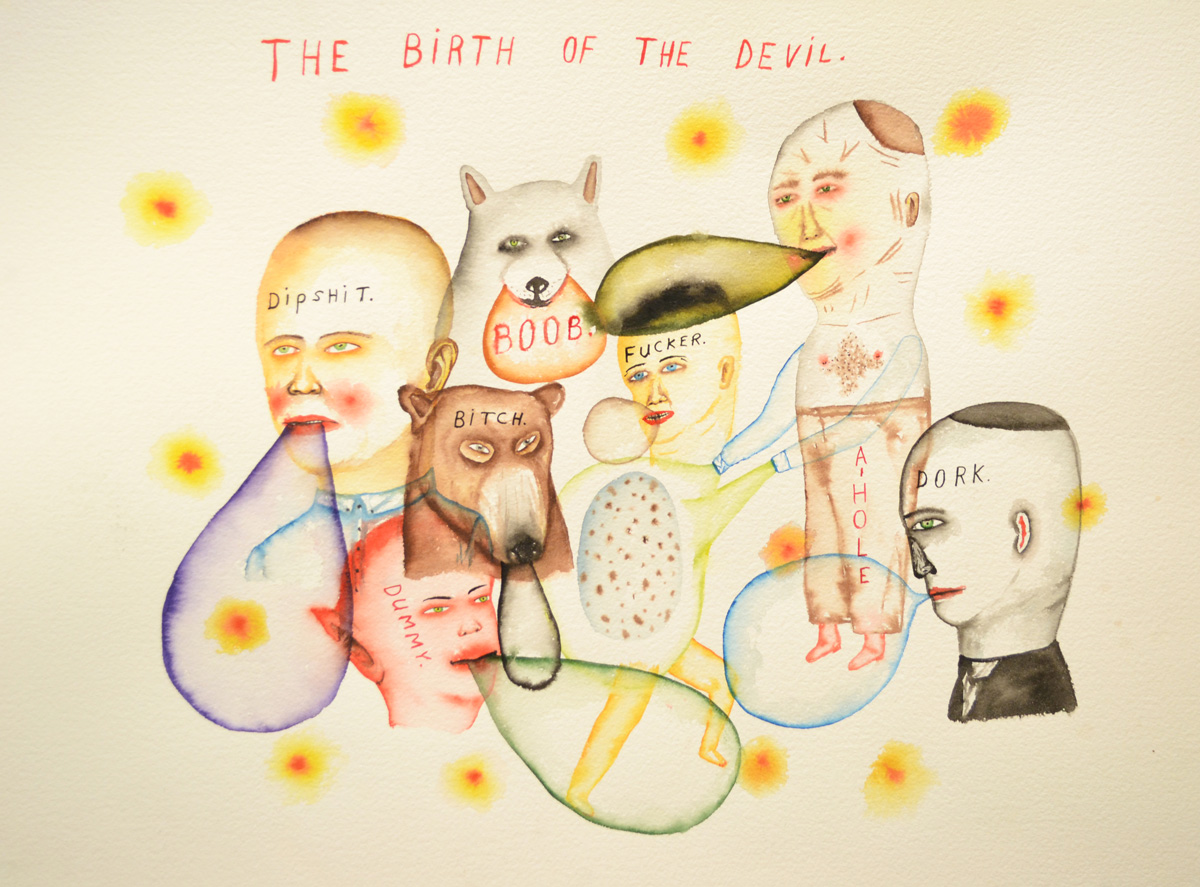 Fred-Stonehouse,-Birth-of-the-Devil,-2014,-watercolor-on-paper,-56×76-cm