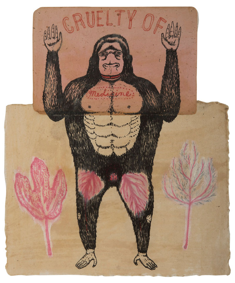 Fred Stonehouse, Cruelty-of-Medicine, 2008, ink and wax-on Japanese paper ,33×28 cm
