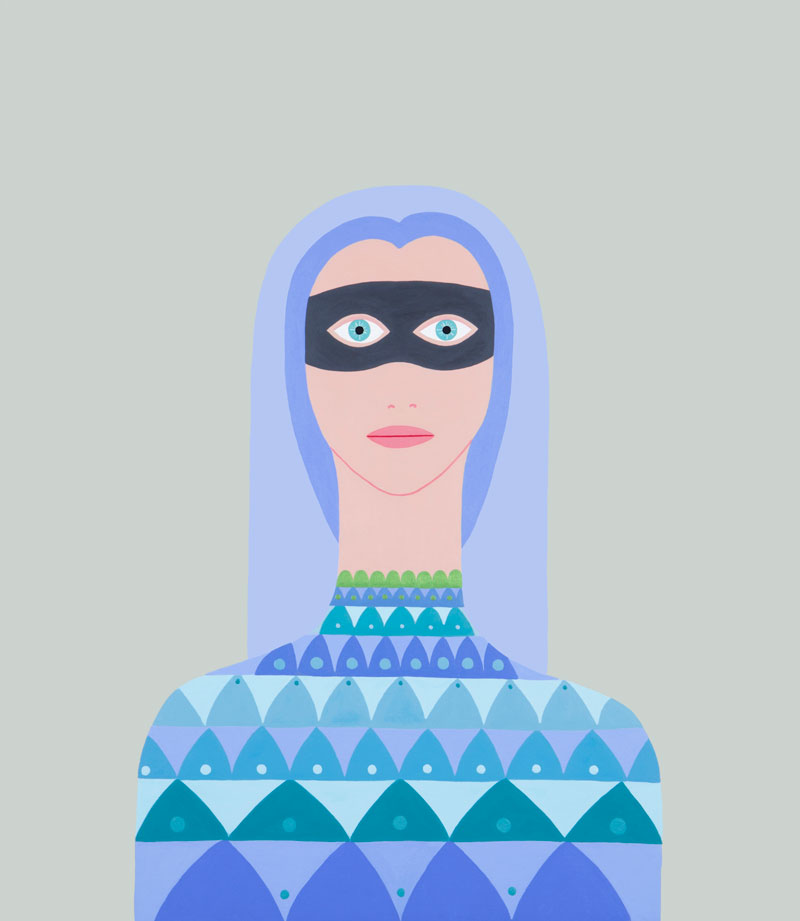 Fulvia-Mendini, Donna con maschera, 2016, acrylic on canvas, 69×60 cm