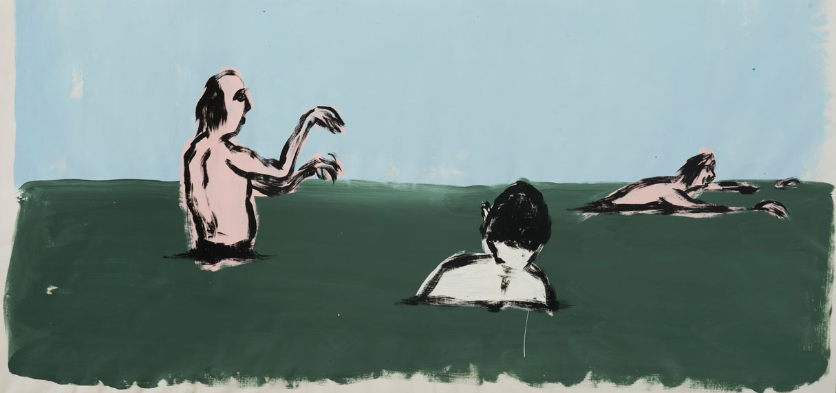 Russ Pope, Summer Swimmers, 2016, acrylic on canvas, 76x167 cm