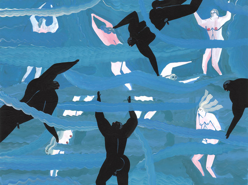 Andrea Heimer, Each summer we were told not to swim with the black boys, 2016, acrylic and pencil on paper, 28×35 cm