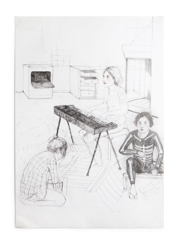 Erika Nordqvist, The bucket, 2016. mixed media on paper, 60×42 cm