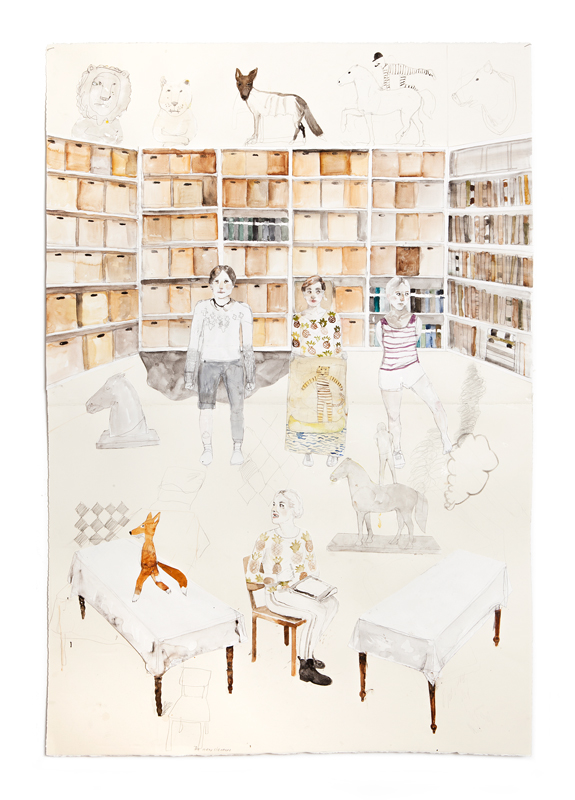 Erika Nordqvist, The missing tooth, 2016, collage watercolor and pencil on paper, 112×76 cm