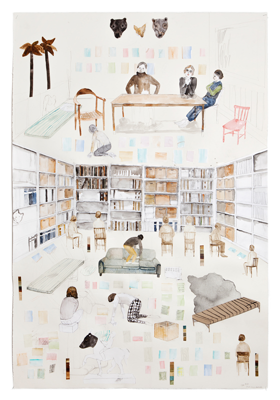 Erika Nordqvist, The plan, 2016, collage, watercolour and pencil on paper, 112×76 cm