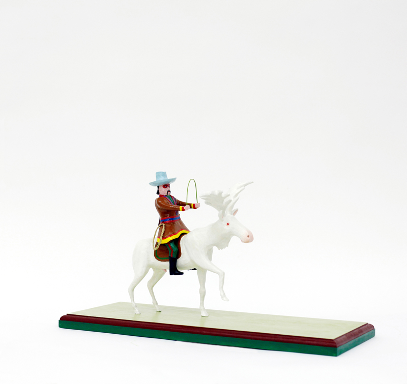 Richard Johansson-hussar-from-the-white-moose-brigade-2016-painted-wood-31x56x22-cm