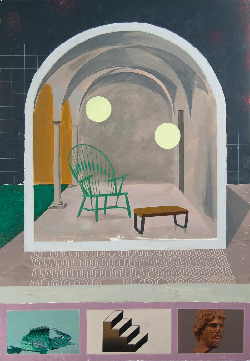 Paolo De Biasi, A loro volta le cose, 2017, acrylic on canvas, 150×105 cm
