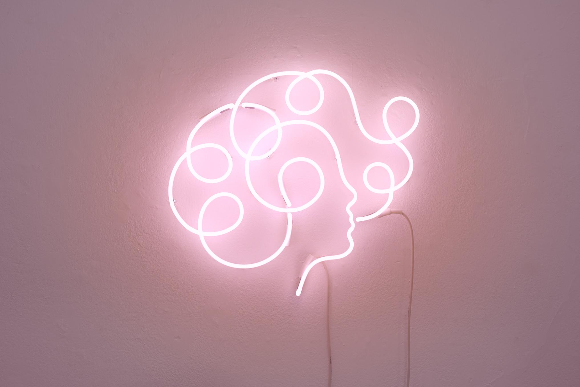 Olimpia Zagnoli, How to eat spaghetti like a lady, 2017, neon sculpture