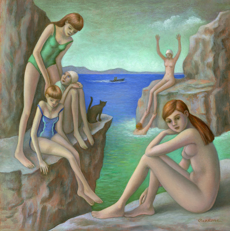 Amy Crehore, Bathers on the rocks, 2016, oil on canvas, 20×20 cm