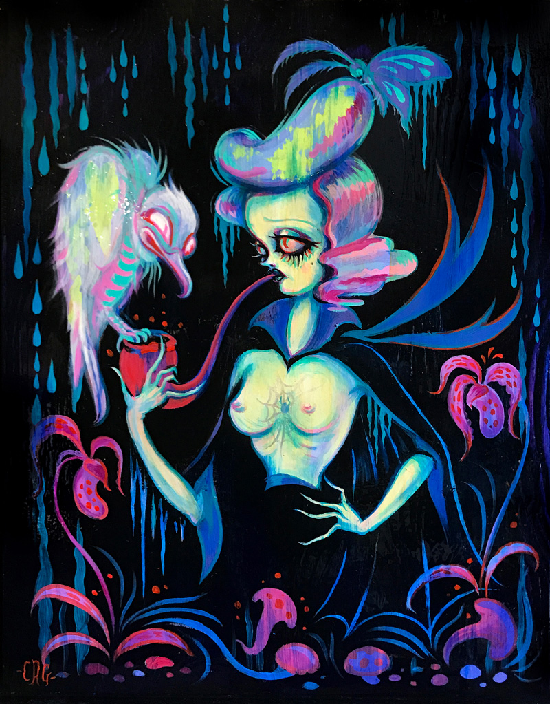 Camille Rose Garcia, Ghost Vulture Serenade, 2017, acrylic and glitter con board,, 35,6×28 cm