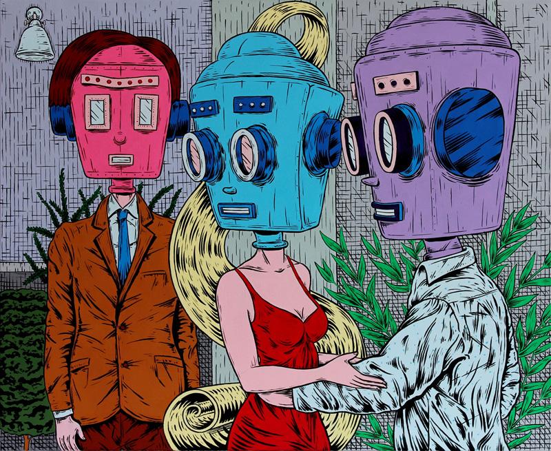 Dast, Sguardi distratti, 2017, acrilico su tela, 60×50 cm