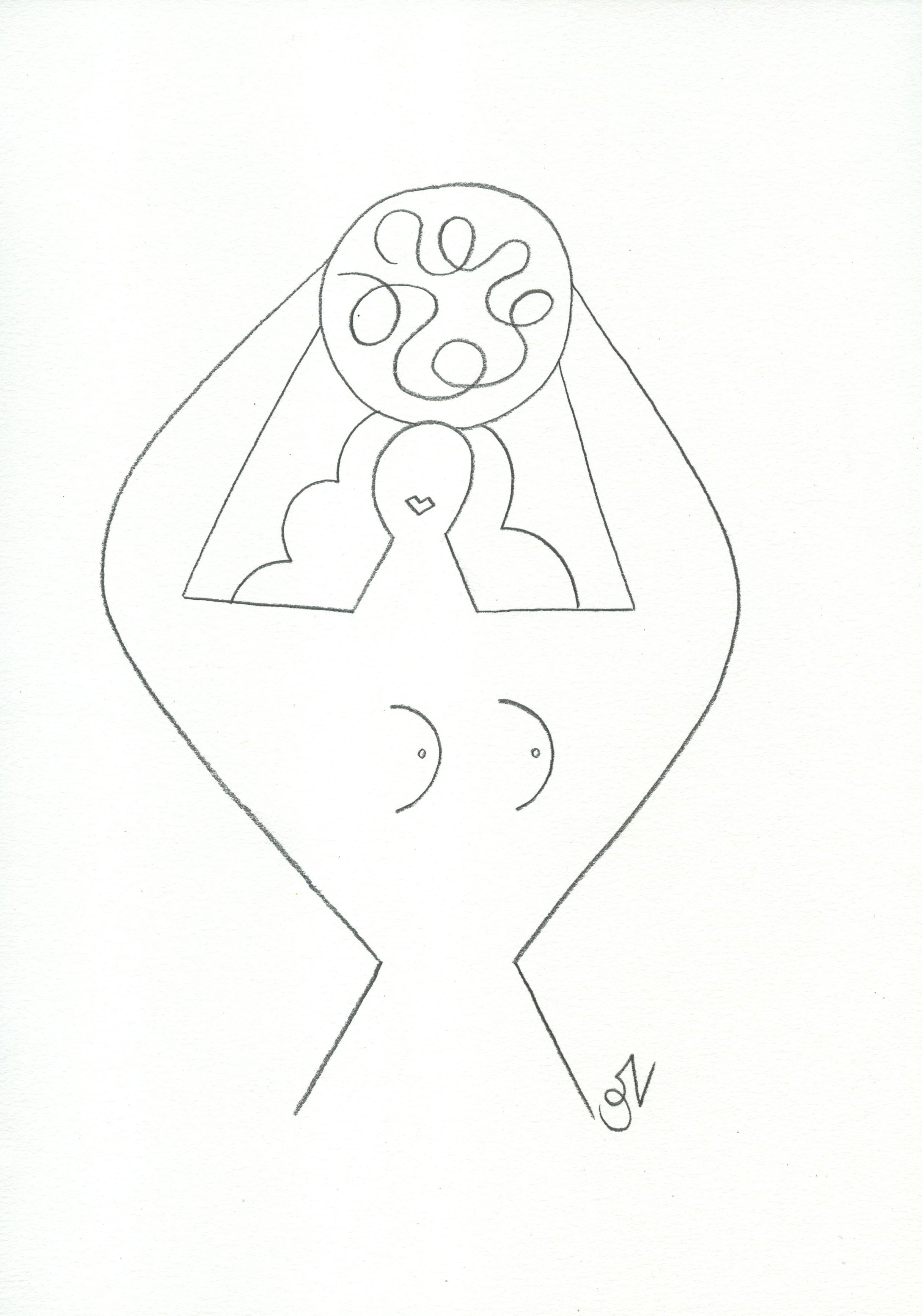 Olimpia Zagnoli, How to eat spaghetti like a lady2, 2017, pencil on paper, 29×21 cm