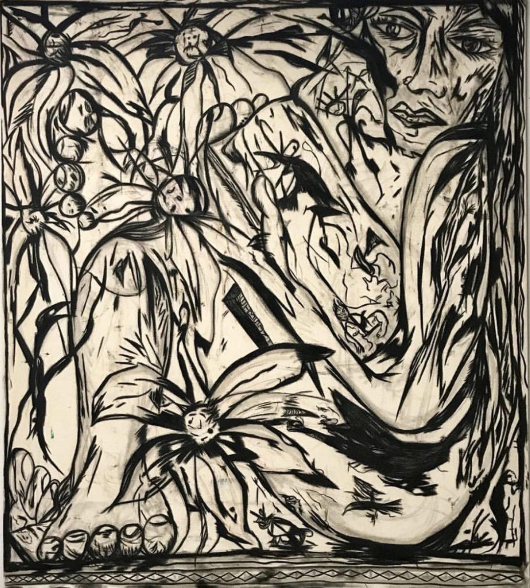 Daniel Gibson, Reading at Elyisan park, 2017, mixed media on canvas, 213×182 cm (2)