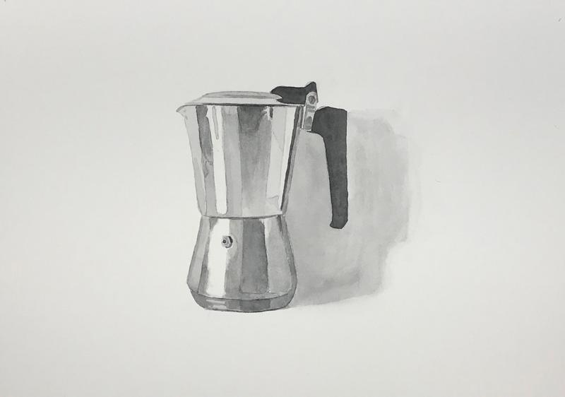 Joshua-Huyser,-coffee-maker,-watercolor-on-paper,-25.5cm-x-35.5cm,-2017