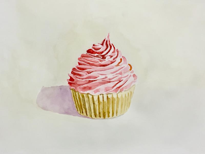 Joshua-Huyser,-cupcake,-watercolor-on-paper,-32.4cm-x-33.1cm,-2016
