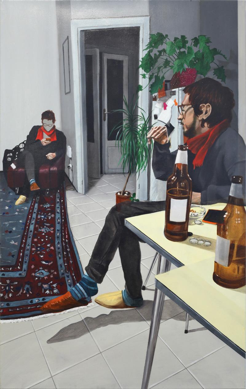 Dario Maglionico, Reificazione #35, 2017, oil on canvas, 80×50 cm
