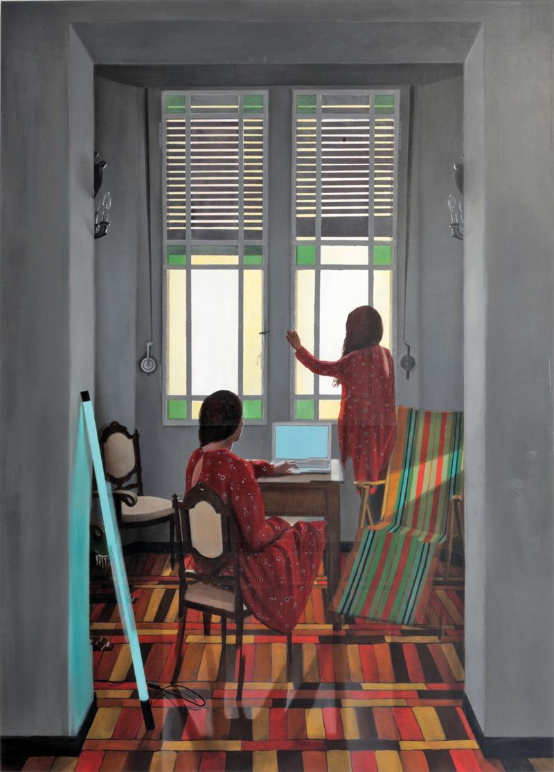 Dario Maglionico, Reificazione #45, 2018, oil on canvas, 144×100 cm